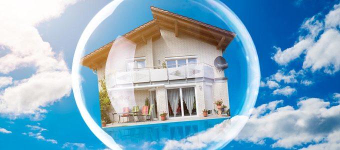 casa fluttuante dentro una bolla
